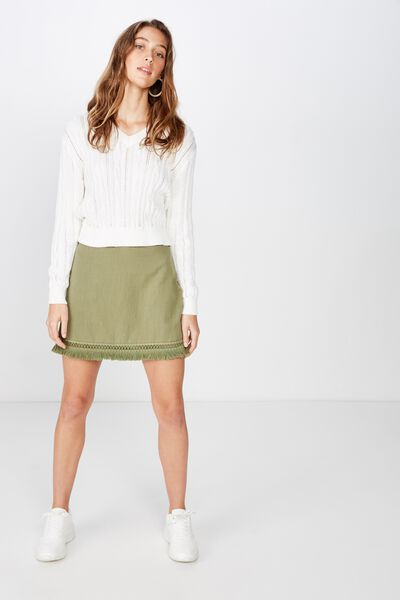 Woven Geri Tassel Mini Skirt, DRIED HERB