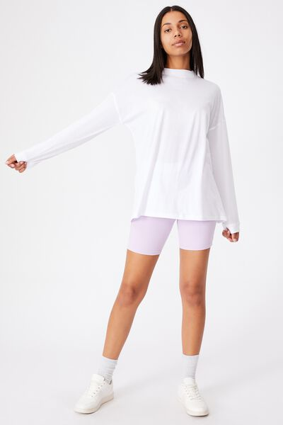 90S Longline Drop Shoulder Long Sleeve Top, WHITE