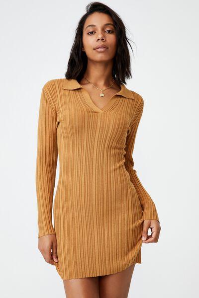 Nicola Knit Polo Long Sleeve Mini Dress, APPLE CINNAMON
