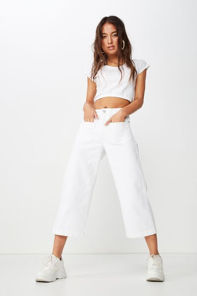 Mid Rise Wide Leg Crop Jean, WHITE PATCH POCKET