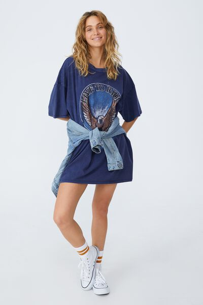 Oversized Graphic T Shirt Dress, LIVE TO RIDE/WASHED NAVY