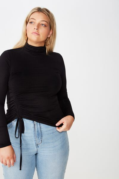 Curve Ruched Turtle Neck Top, BLACK