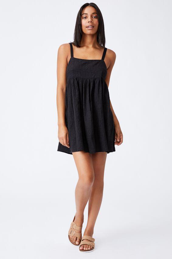 Woven Rizzo Keyhole Back Mini Dress, BLACK