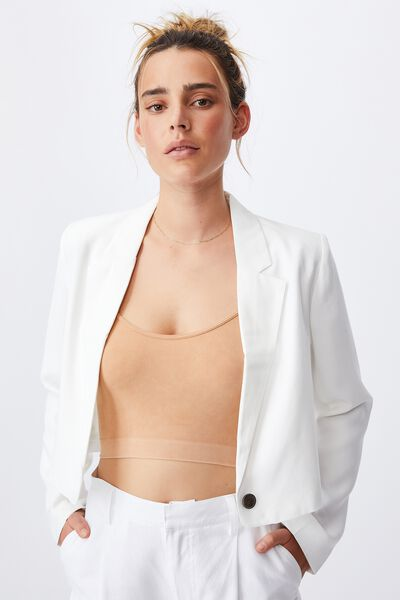 Ultimate Long Sleeve Crop Blazer, WHITE