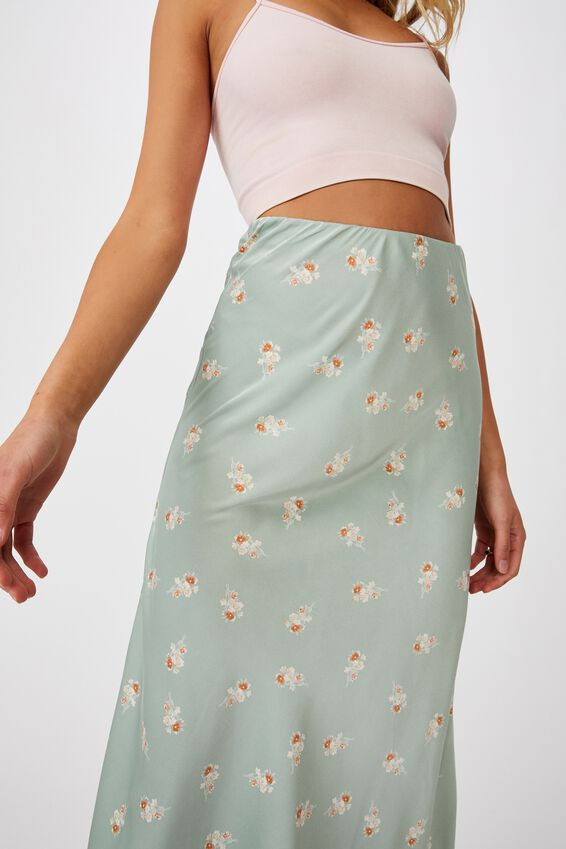 All Day Slip Skirt, ARABELLA FLORAL WASHED GREEN