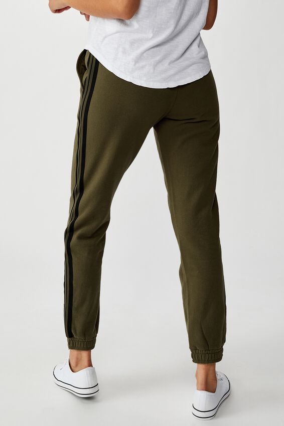 Slim Fit Trackpant, WINTER MOSS PINTUCK/BLACK SIDE TAPE