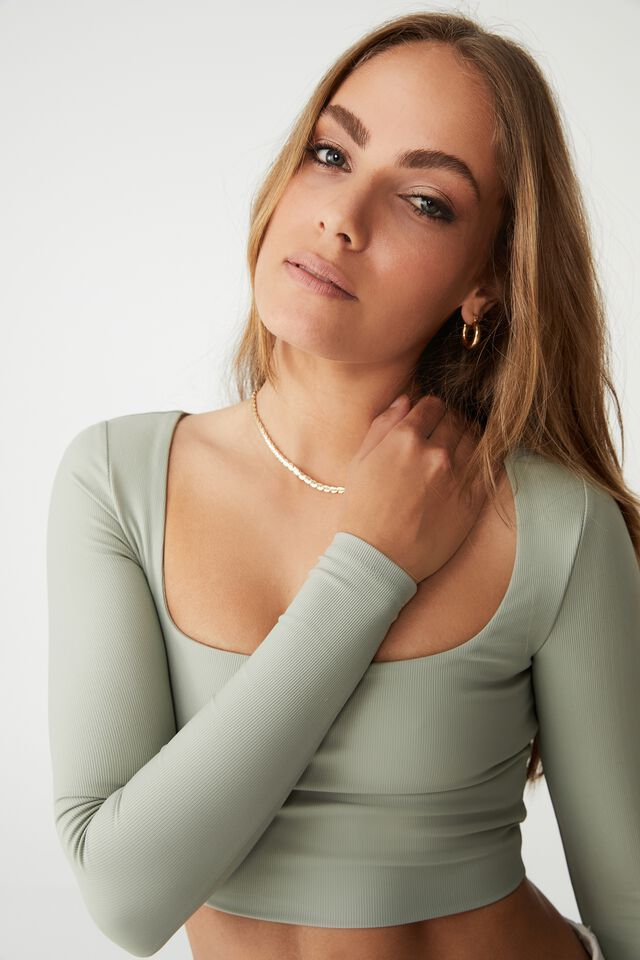 Quinn Square Neck Long Sleeve Top, SAGE