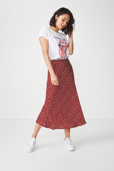 Woven Belle Bias Midi Skirt, RENE SPOT ROSEWOOD