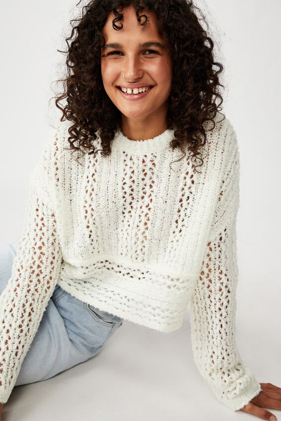 Wide Sleeve Chopped Pullover, WHITE