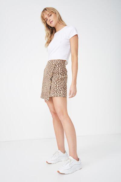 Woven Lulu Mini Skirt, SARAH LEOPARD TAN