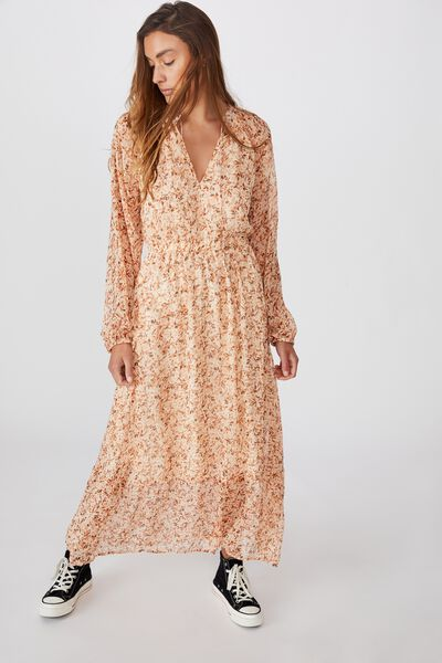 Woven Michelle Long Sleeve Maxi Dress, ALMA FLORAL MID BROWN