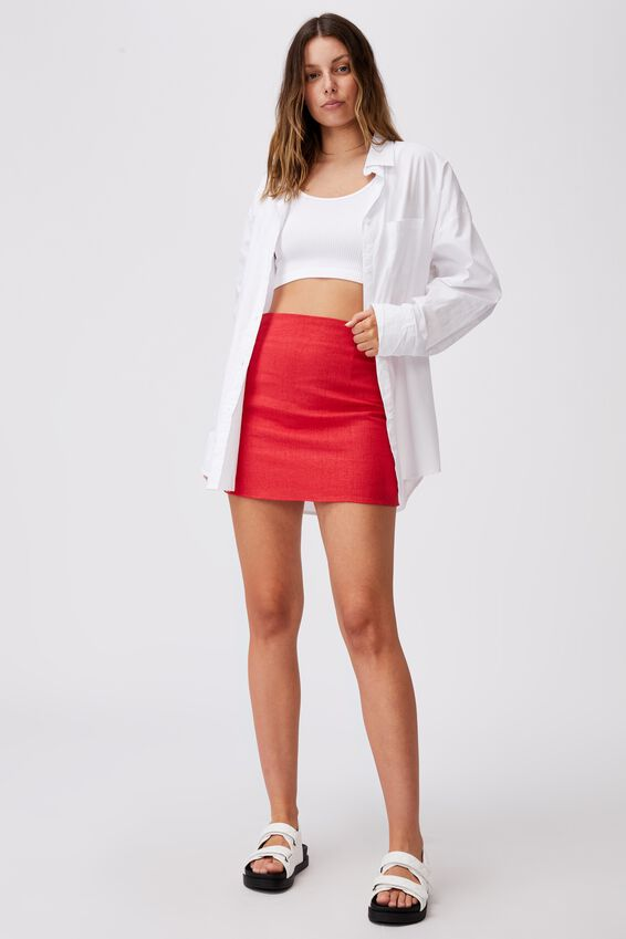 Ultimate A Line Mini Skirt, LUCKY RED