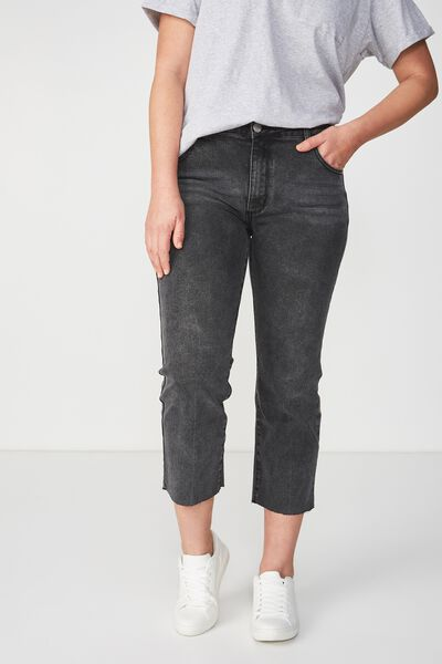 Mid Rise Straight Crop Stretch Jean, WORN BLACK