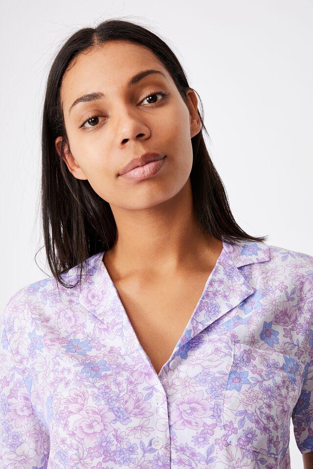 Cropped Summer Shirt, JULIA FLORAL LILAC