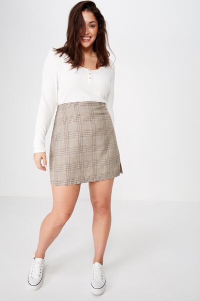 Curve Tara Split Mini Skirt, SARAH CHECK TORTOISE SHELL