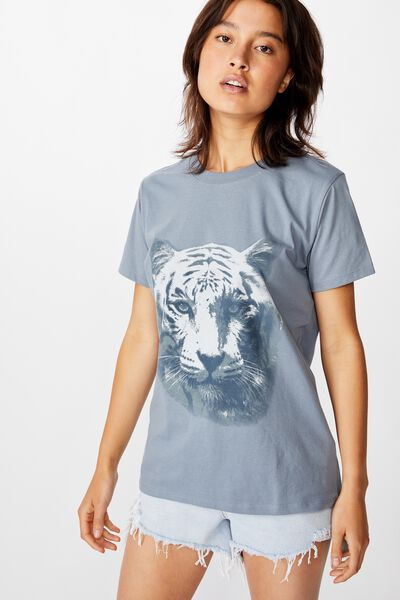 Classic Vintage Inspired T Shirt, WHITE TIGER/FLINT STONE