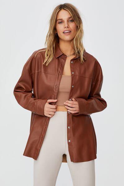 Natalie Long Sleeve Shirt, CHOCOLATE