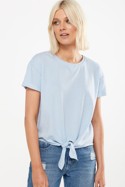 Coco Short Sleeve Fleece Top, AEGEAN BLUE