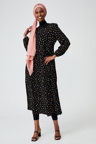 Woven Kimberly Babydoll Long Sleeve Maxi Dress, DELILA DITSY BLACK