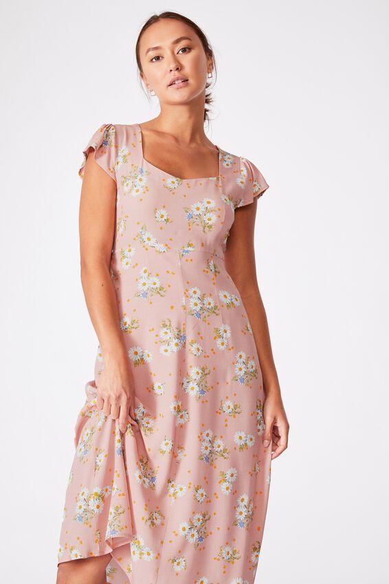 Woven Cleo Tie Back Midi Dress, GEORGIA DAISY PINK