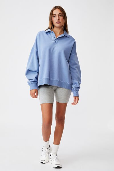 Classic Rugby Fleece Pullover, AIR BLUE GARMENT PIGMENT DYE