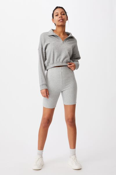 The Beverly Rib Bike Shorts, GREY MARLE