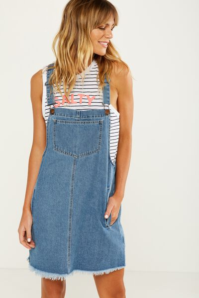 Denim Pinafore Dress, VINTAGE BLUE
