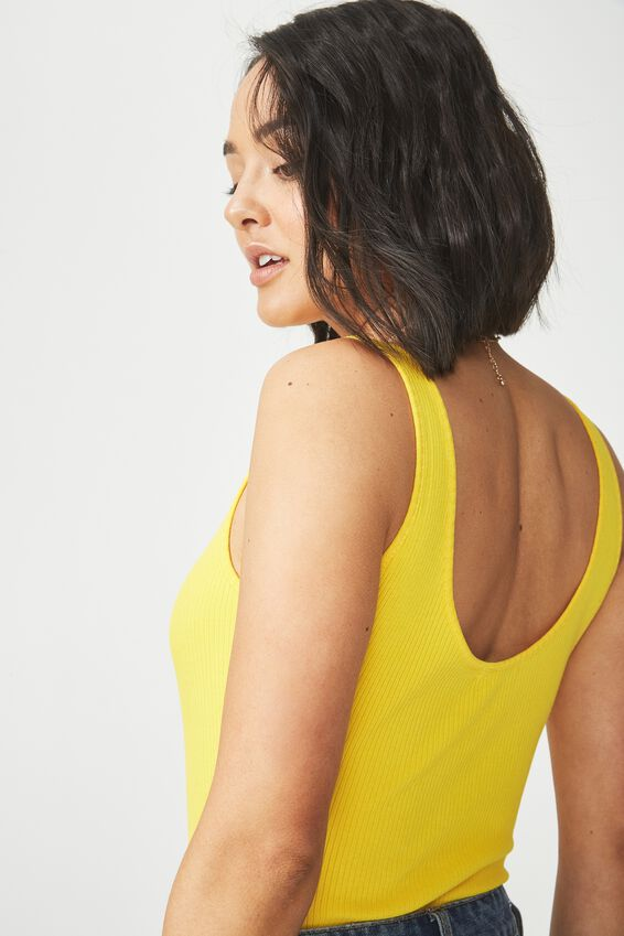 Sadie Scoop Sleeveless Bodysuit, DANDELION