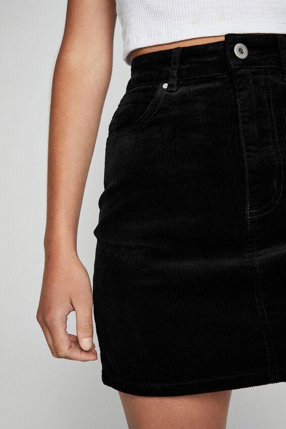 Woven Havana Cord Mini Skirt, BLACK