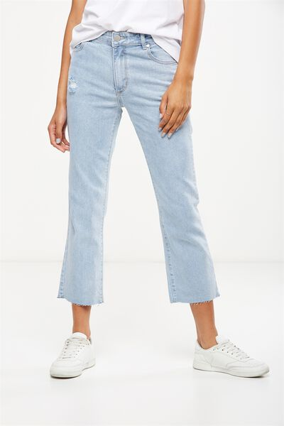 Mid Rise Straight Crop Stretch Jean, STEVIE LIGHT BLUE RIPS