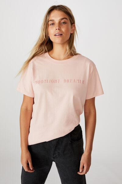 Classic Slogan T Shirt, MOONLIGHT DREAMER/EVENING SAND