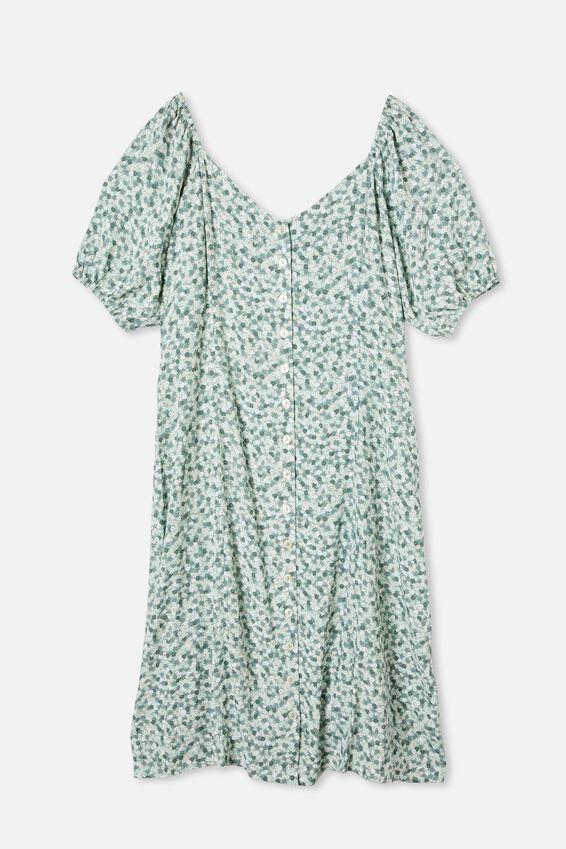 Curve Woven Sophia Bell Sleeve Midi Dress, QUINN DITSY JADETTE