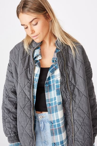 Toni Quilted Bomber, WASHED BLACK