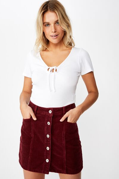 Charlie Cord Mini Skirt, DARK SANGARIA