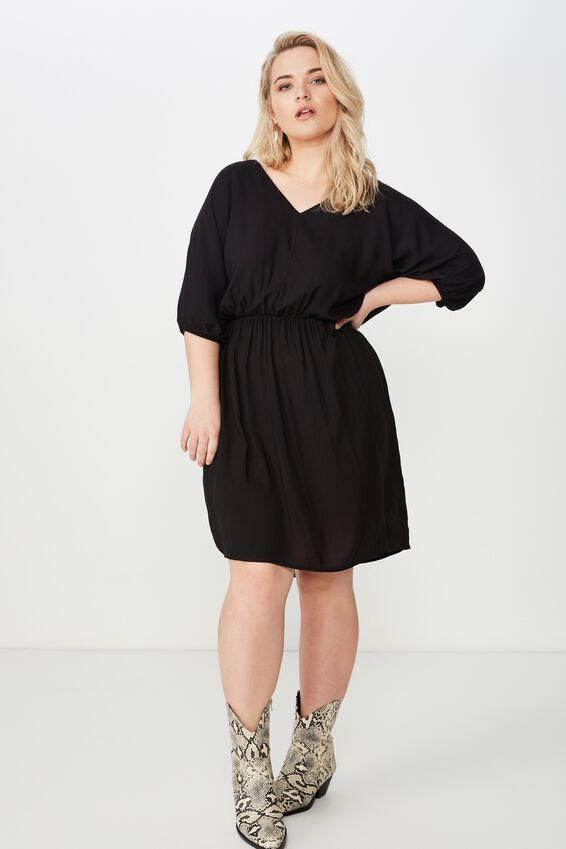 Curve Gathered Waist Woven Dress, BLACK
