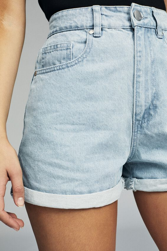 High Rise Flashback Denim Short, ORIGINAL BLEACH BLUE CUFF