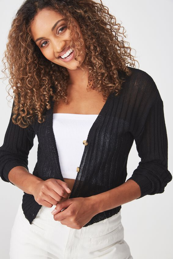 Maddy Button Through Chopped Cardi, BLACK