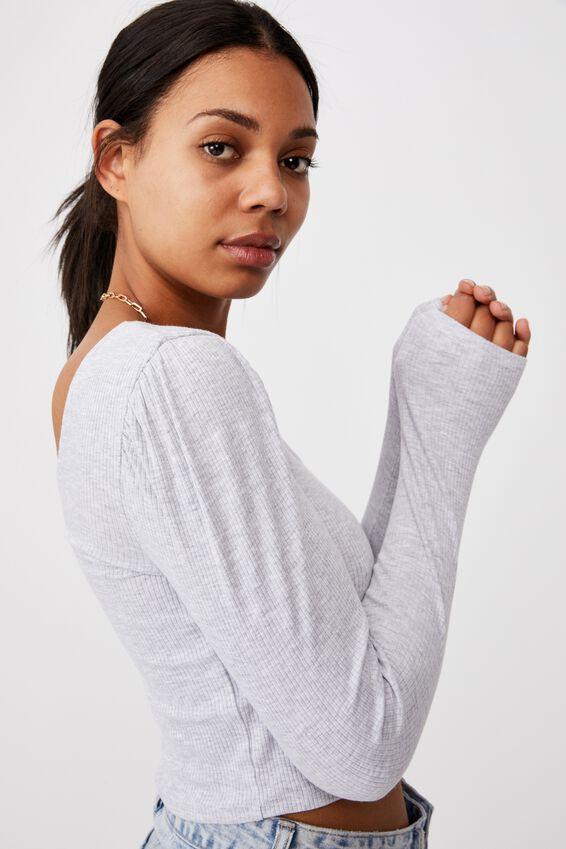 Pamela Puff Long Sleeve Top, SILVER MARLE