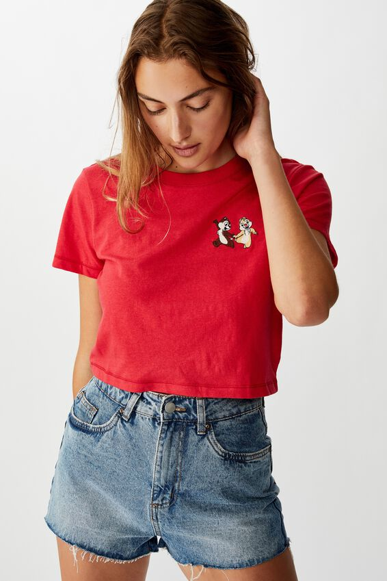 Tbar Cara Graphic Crop T Shirt, LCN DIS CHIP AND DALE/CHILI RED