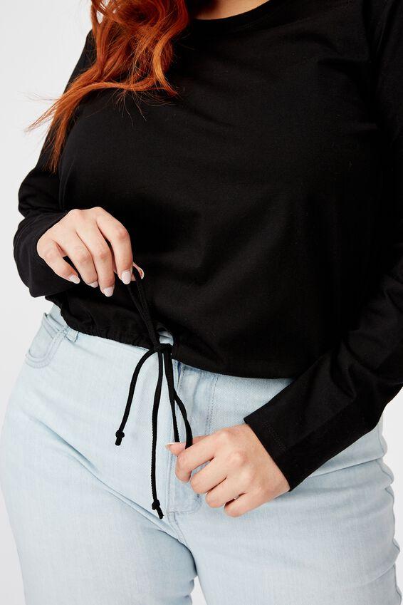 Curve Fleur Keyhole Long Sleeve Top, BLACK