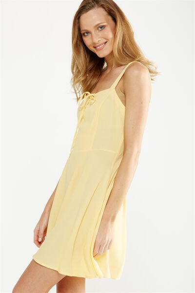 Woven Krissy Dress, LACE UP MELLOW YELLOW