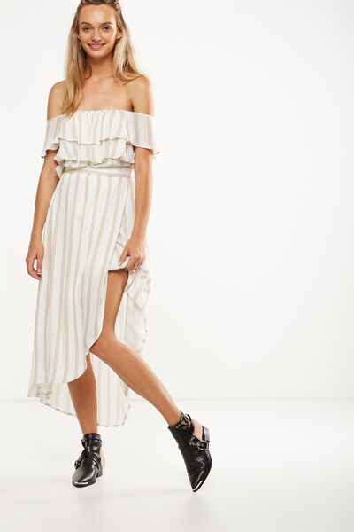 Woven Illa Off The Shoulder Maxi Dress, RIVERIA VERTICAL WHITE/CURRY/BLACK