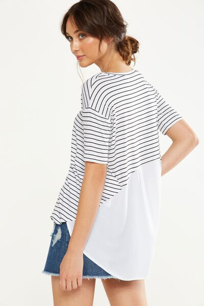Lauren Spliced Tunic Top, CLEO STRIPE WHITE/BLACK