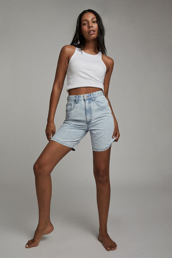 Straight Denim Bermuda Short, ADDIS BLUE