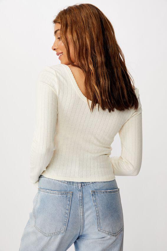 The Jordan Pointelle Long Sleeve Top, GARDENIA POINTELLE