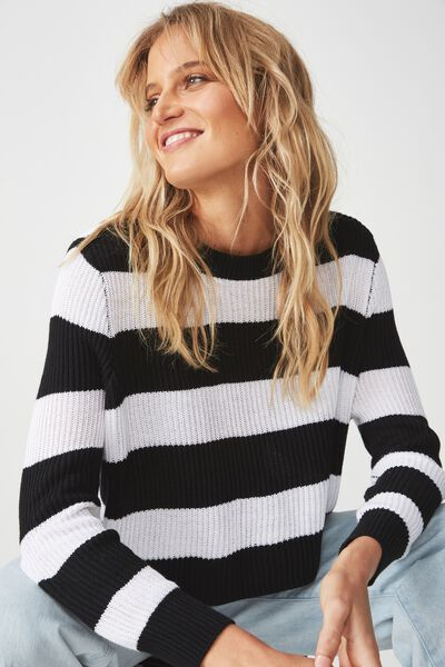 Archy Cropped 2 Pullover, BLACK WHITE BOLD STRIPE