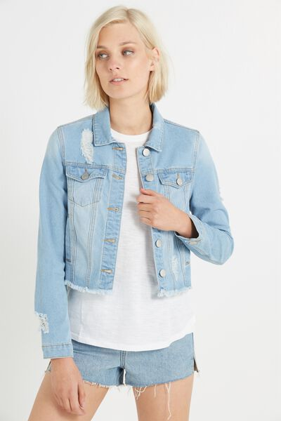 Girlfriend Denim Jacket, LIGHT BLUE DISTRESSED