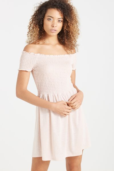 Lindi Off The Shoulder Dress, TALS STRIPE NUDE PINK/WHITE