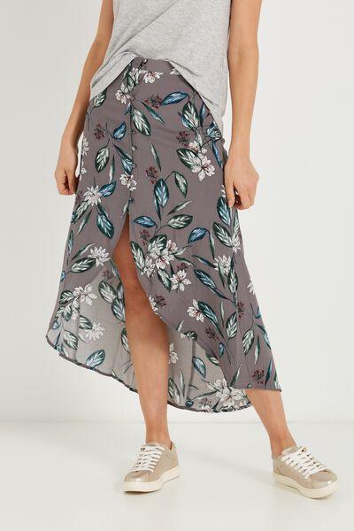 Woven Alfie Maxi Skirt, MAYA FLORAL STEEL GREY