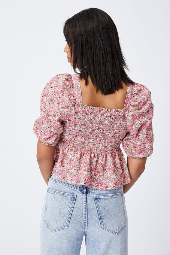 Babydoll Shirred Square Neck Blouse, BECCA FLORAL RASPBERRY